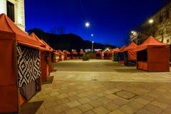 Empty stalls at night of the Christmas market of Lugano Stock Photo