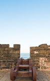 A empty stand for cannon on the Skala de le Ville fort Royalty Free Stock Images