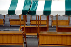Empty stands at open air market Stock Photos
