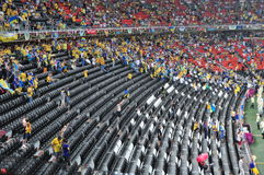 Empty the stands in the rain Royalty Free Stock Image
