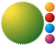 Empty starburst, sunburst button, icon background in 5 vibrant c. Olors. Generic design element. - Royalty free vector illustration stock illustration