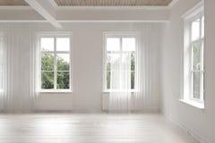 Empty stark white monochrome loft room Stock Image