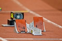 Empty starting blocks Royalty Free Stock Photos