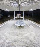 Empty station platform at night Stock Photography