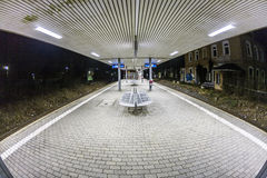Empty station platform at night Royalty Free Stock Images