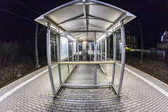 Empty station platform at night Stock Photos