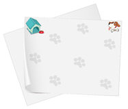 Empty stationery with animal footprints Royalty Free Stock Photos