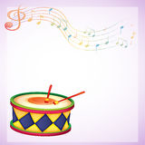 An empty stationery with a drum and musical symbols Stock Photo