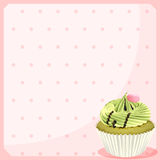 An empty stationery with a mocha cupcake Royalty Free Stock Photography