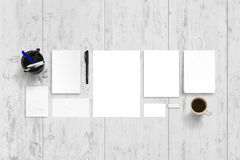 Empty stationery, office accessories for branding promotion stock images