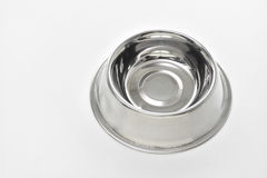 Empty steel bowl for dog food Stock Photography