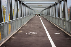 Empty steel bridge with bicycle lane Royalty Free Stock Photos