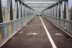 Empty steel bridge with bicycle lane Royalty Free Stock Photos