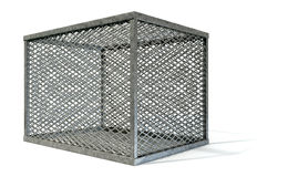 Empty Steel Cage. A rectangular steel cage covered in diamond mesh wiring on an isolated white background Stock Image