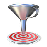 Empty steel funnel and red target Royalty Free Stock Image