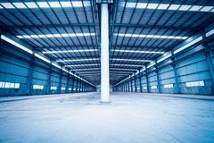Empty steel structure warehouse Stock Images