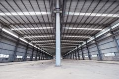 Empty steel structure warehouse Royalty Free Stock Images