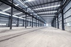 Empty steel structure warehouse Royalty Free Stock Photography