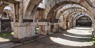Empty stone arcade with columns, Smyrna Stock Image