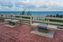 Empty stone benches at Kung Wiman, Chanthaburi. Royalty Free Stock Photo