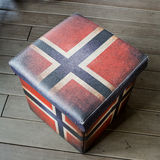 Empty stool box - American Flag graphic useful stool, inside is Stock Photo