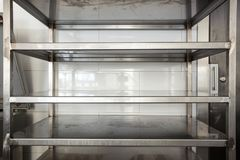 Empty storage stainless steel in a kitchen restaurant or hotel Stock Image