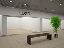 Empty store. With advertising signboard Stock Photos