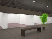 Empty store. With advertising signboard Stock Photo