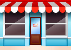 Empty store front. Store shop front window with empty shelves vector illustration Royalty Free Stock Photos
