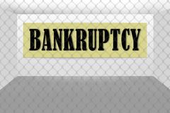 Empty store shop is bankrupt and closed. Concept of bankruptcy. Empty store shop is bankrupt and closed. Announcement of bankruptcy on the wall. Locked store stock illustration
