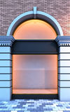 Empty storefront with the evening lighting. 3D illustration of a classical empty storefront with the evening lighting Stock Photography