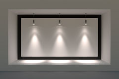 Free Empty Storefront Or Podium With Lighting And A Big Window. Stock Photos - 46917173