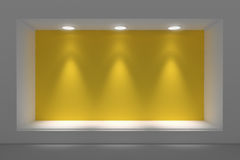 Empty storefront or podium with lighting and a big window. Royalty Free Stock Image