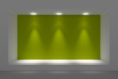 Empty storefront or podium with lighting and a big window. Stock Photo