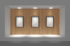 Empty storefront or podium with lighting and a big window. Royalty Free Stock Photo