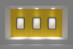 Empty storefront or podium with lighting and a big window. Royalty Free Stock Images