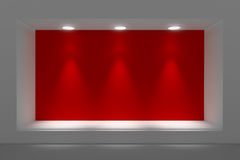 Empty storefront or podium with lighting and a big window. Stock Photography