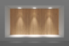 Empty storefront or podium with lighting and a big window. Stock Photos