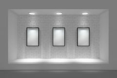 Empty storefront or podium with lighting and a big window. Stock Image