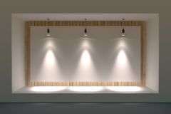 Empty storefront or podium with lighting and a big window. Royalty Free Stock Photos