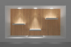 Empty storefront or podium with lighting and a big window. Royalty Free Stock Photography