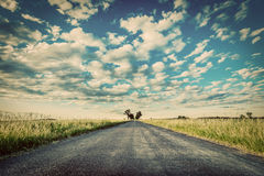 Empty straight long asphalt road. Concepts of travel, adventure, destination, transport etc. Royalty Free Stock Images