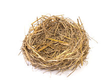 Empty straw nest with twigs on a white background Royalty Free Stock Photo