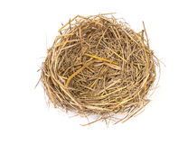 Empty straw nest with twigs on a white background Royalty Free Stock Photos