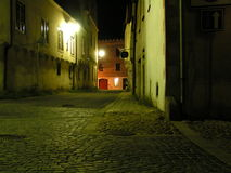 The Empty Street. This is a street in Slavonice, Czech Republic. In the midnight, everything looks quite poetic Royalty Free Stock Image