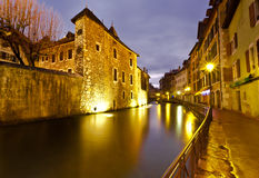 Empty Street along Thiou Canal in Annecy France Stock Images