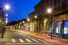 Empty street in Baia Mare - view by night Royalty Free Stock Images