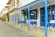 Empty street bar, Kos island Greece Stock Photo