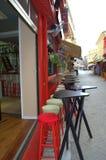 Empty street bar seating,Lefkada, Greece Royalty Free Stock Photo