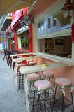 Empty street bar seating,Lefkada, Greece Royalty Free Stock Image